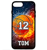iPhone 6S Case, iPhone 6 Case, ArtsyCase Thunder Water Fire Basketball Personalized Name Number Phone Case - iPhone 6 and iPhone 6S (Black)
