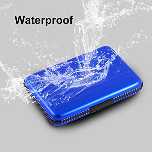 YOUKaDa Metal Memory Card Case Holder Water-resistant Pocket-sized SD holder for 8 SD Cards & 8 Micro SD Cards (2 Pack-Blue) by YOUKaDa (Image #5)