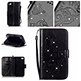 iPhone 4 4s Case,iPhone 4 4s Case Cover, Black PU Leather Wallet Butterfly Flower Pattern Credit Card Holder Flip Folio Stand Case for iPhone 4 4s