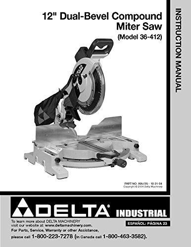 l-Bevel Compound Miter Saw Instruction Manual Reprint ()