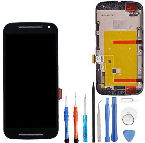Unifix Black LCD Display Touch Screen Glass Digitizer Frame Assembly Replacement for Motorola Moto G2 2nd Gen XT1063 XT1064 XT1068 + Repair Tool - Replacement Screen Gen Lcd