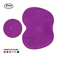 Makeup Brush Cleaning Mat, ESARORA Makeup Brush Cleaner Pad Set of 2 Cosmetic Brush Cleaning Mat Portable Washing Tool Scrubber Suction Cup (Light Purle)