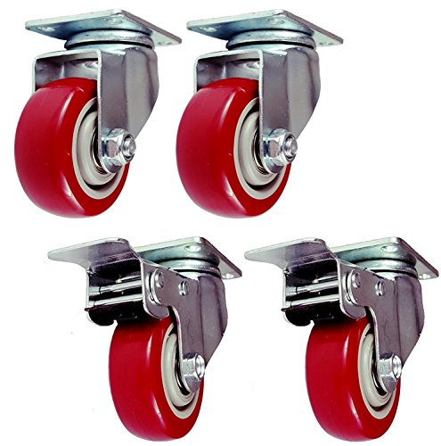 4 Pack 3 Inch Set Caster Wheels Swivel Plate 2 with Brake 2 Plate Heavy Duty on Red Polyurethane Wheels