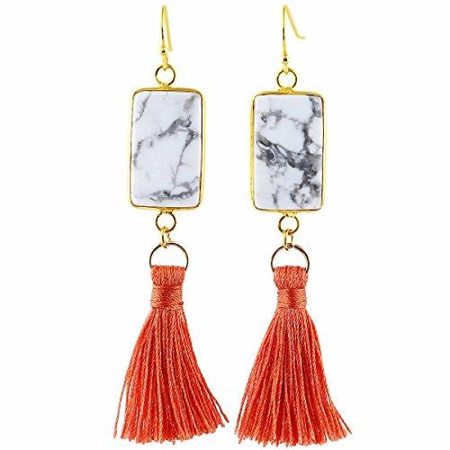 TUMBEELLUWA Tassel Dangle Earrings Rectangle Shape Healing Crystal Quartz Fringe Thread Drop Earring Handmade Jewelry for Women,White Howlite Turquoise