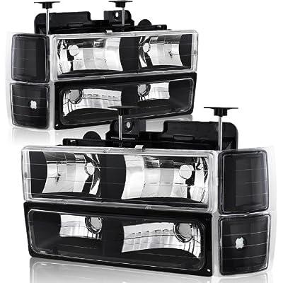94-98 Chevy Trucks, 95-99 Chevy Tahoe Black Housing Headlight, Bumper Light, and Corner Light 8PC Combo