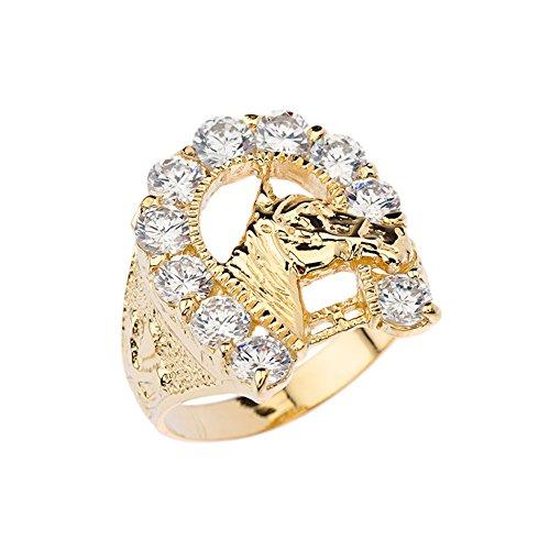 Horse Head Horseshoe - Men's Elegant CZ Lucky Horseshoe and Horse Head Ring in 14k Yellow Gold (Size 11)