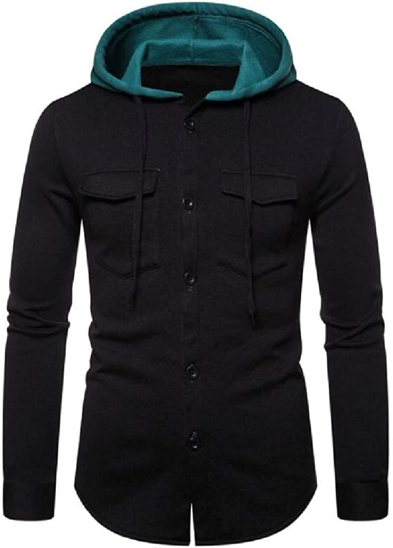 Abeaicoc Mens Jackets Casual Long Sleeve Button Front Winter Open Front Hooded Sweatshirt