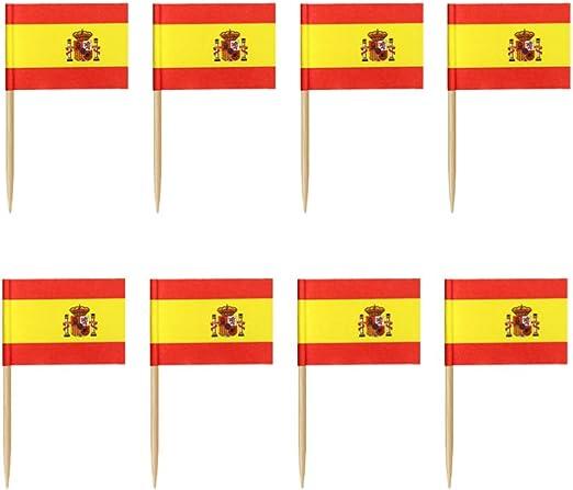 Toyvian 100 Piezas Mini España Bandera Palillos de Dientes Cupcake ...