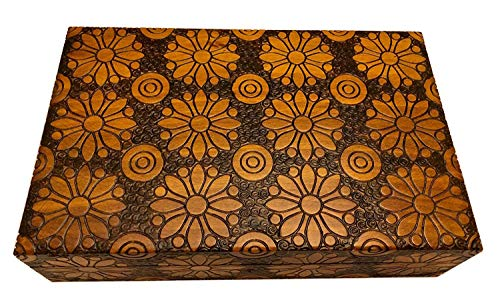 Large Collector Box Polish Handmade Jewelry Box Linden Wood Keepsake (Includes 1 Key), yellow brown, Large