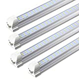 T8 Integrated Single Fixture, 8FT LED Tube, 72W 7200lm 6000K, Dual Row, Fluorescent Light Bulbs Replacement, Linkable LED Utility Light for Shop Garage Ceiling Warehouse, 4-Pack