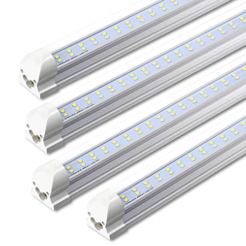 T8 Integrated Single Fixture, 8FT LED Tube, 72W 7200lm 6000K, Dual ...