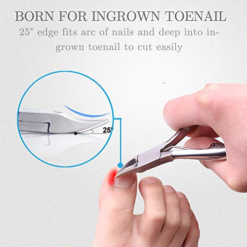 Toe Nail Clipper for Ingrown or Thick Toenails,Toenails Trimmer and Professional Podiatrist Toenail Nipper for Seniors with Surgical Stainless Steel Surper Sharp Blades Lighter Soft Handle