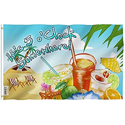 Anley |Fly Breeze| 3x5 It's 5 o'Clock Somewhere Flag - Vivid Color and UV Fade Resistant - Canvas Header and Double Stitched - Sandy Beach Flags Polyester with Brass Grommets 3 X 5 Ft