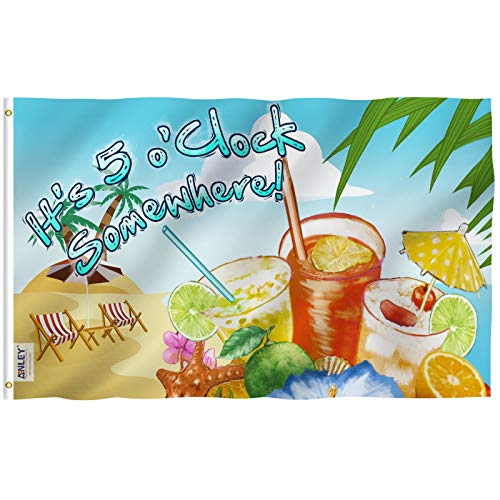 - Anley Fly Breeze 3x5 Foot It's 5 o'Clock Somewhere Flag - Vivid Color and UV Fade Resistant - Canvas Header and Double Stitched - Sandy Beach Flags Polyester with Brass Grommets 3 X 5 Ft