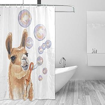 Donnapink Cute Llama Alpaca Waterproof 60X72 Shower Curtain Polyester Fabric Bathroom Bath Sets