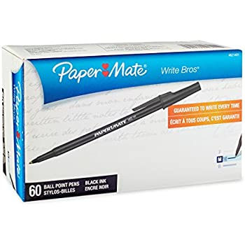 Paper Mate Write Bros Ballpoint Pens, Medium Point (1.0mm), Black, 60 Count
