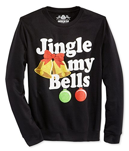 American Rag Mens Jingle My Bells Christmas Holiday Crew Sweatshirt Black S from AMERICAN RAG CIE