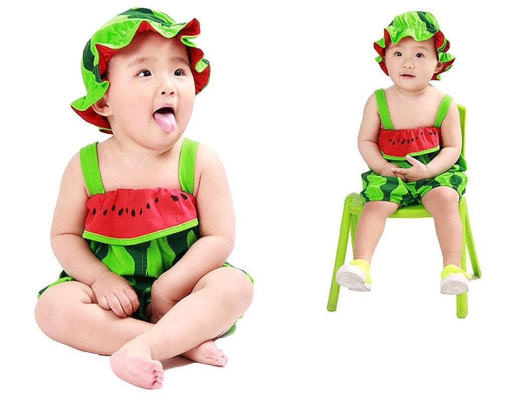 Soupliebe Traje de beb/é reci/én Nacido Baby Boy Girls Fashion Sombrero de Dibujos Animados Mamelucos Infantiles Frutas Impresas Mono Trajes Ropa Conjunto Beb/é Verano Unisex Mono de 0 a 24 Mes