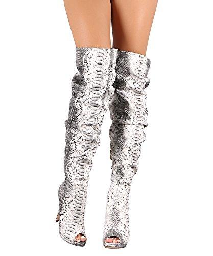 RF RAUM DER MODE Frauen Slouchy Peep Toe Stiletto mit Absatz vegane Overknee-Stiefel Schlangen Print Pu