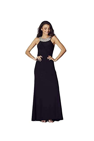 Tiffanys Illusion Prom Black Chicago Jewelled Evening Gown UK 10
