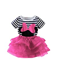 Mud Kingdom Toddler Girls' Cartoon Cute Set T-Shirt and Tutu Skirt Outfit