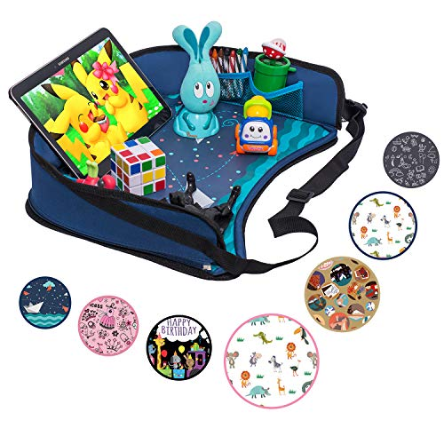 Toddler Car Seat Travel Tray by DMoose (16-Inch-by-14-Inch) – Reinforced Solid Surface, Sturdy Side Walls, Strong Buckles, Mesh Pockets – Waterproof Snack, Play & Learn Tray (Blue II)