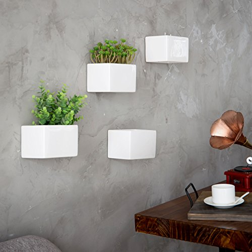 MyGift Modern White Ceramic Wall Hanging Succulent & Herb Planter Box, Set of 4 by MyGift (Image #2)