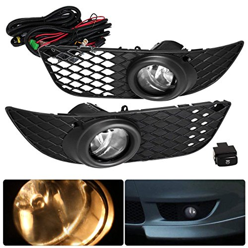 Rxmotor 2008-2012 Mitsubishi Lancer Fog Lights Assembly Replacement for OEM (Wiring Kit Included) (Clear)