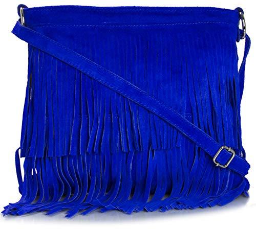 BHBS Bolso de Noche para Dama en Cuero Gamuzado con Flecos en el Frente (Electric Blue)