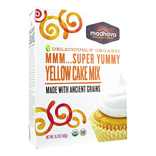 Drink Mix Cake (Madhava Organic Super Yummy Cake Mix with Ancient Grains, Yellow, 15.2 Ounce)
