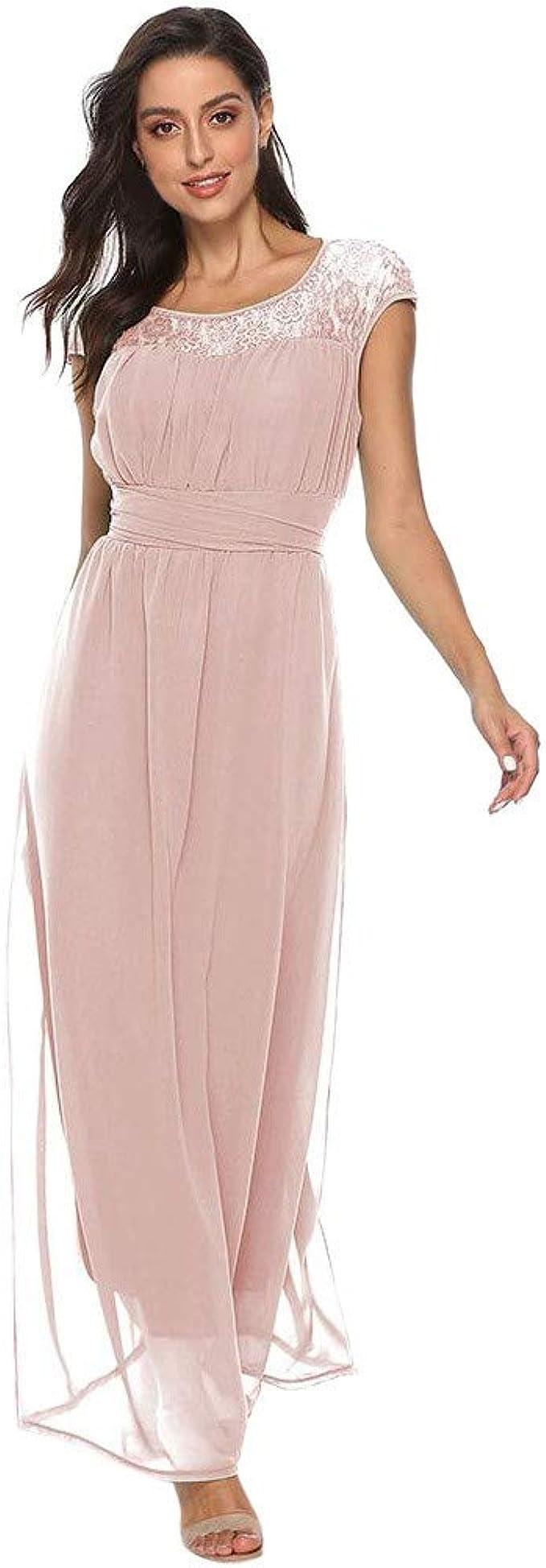 Lulupi Elegant Abendkleid Damen Lang,Spitzenkleid Rundhals