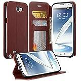 note 2 wallet case - Samsung Galaxy Note 2 Case, Galaxy Note 2 Wallet Case, Magnetic PU Leather Flip Wallet Pouch For Samsung Galaxy Note 2, Slim Folio with Kickstand - Brown Slim Wallet