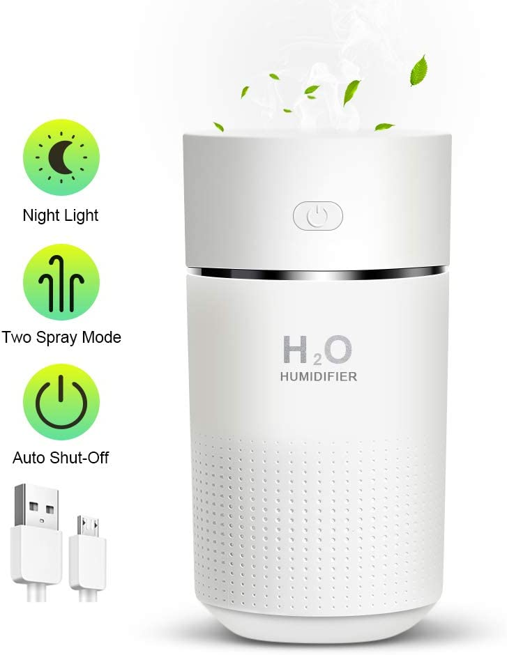 OCOOKO Portable Small Humidifier,360ml Mini Cool Mist Humidifier with Night Light,USB Desktop Humidifier for Bedroom Car Travel Office,White