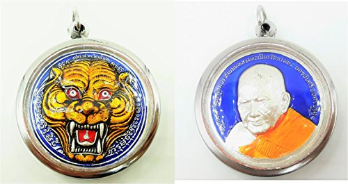 LP' Pern Big Tiger Face of Bang Phra Temple Blue Pendant Life Protection Success Luck with Amulet (Isabella Elephant Costume)