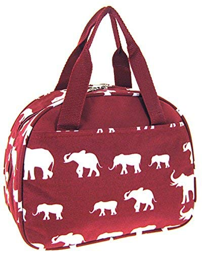 - Elephant Print Insulated Lunch Bag Tote (Burgundy Red)