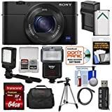 Sony Cyber-Shot DSC-RX100 IV 4K Wi-Fi Digital Camera with 64GB Card + Battery & Charger + Case + Tripod + Flash + LED Video Light + Kit