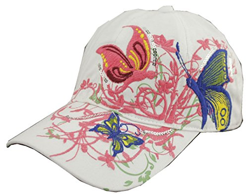 KitMax (TM) Women Fashion Personalized Butterfly Embroidered Hip Hop Outdoor Sport Baseball Snapback Sun Caps Hats (White) ()