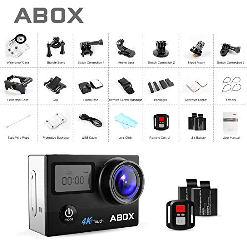 Action Camera, ABOX 608TA 4K 16MP WiFi Sport Cam 30M Waterproof Camcorder with Touch Screen/Dual Screen Display, 170°Wide-Angle Len,2.4G RF Remote, 2 Rechargeable Batteries and Accessories Kit by ABOX (Image #8)