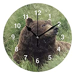 Jojogood Grizzly Bear Wall Clock Silent Non Ticking Clock,Battery-Powered with Quartz Movement for Living Room Bedroom Home Decoration