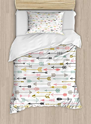 Ambesonne Arrows Duvet Cover Set Twin Size, Colorful Arrows Pattern Native American Aztec Najavo Inspired Style Artwork Image, Decorative 2 Piece Bedding Set with 1 Pillow Sham, Multicolor