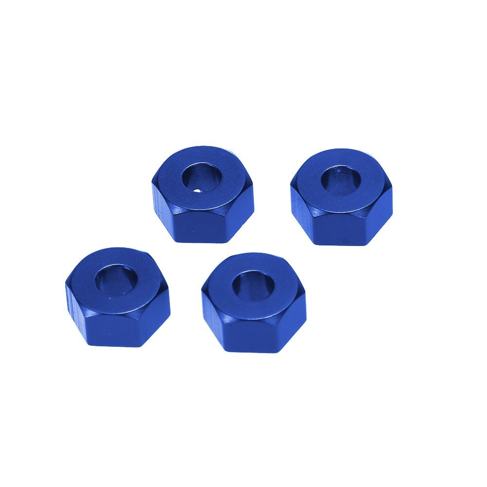 Jili Online 4 Pieces Professional Aluminum Alloy 12mm RC 1:10 Drive Wheel Hubs Hex Mount Adapter with Pins Set for Traxxas Slash 4x4 Blue