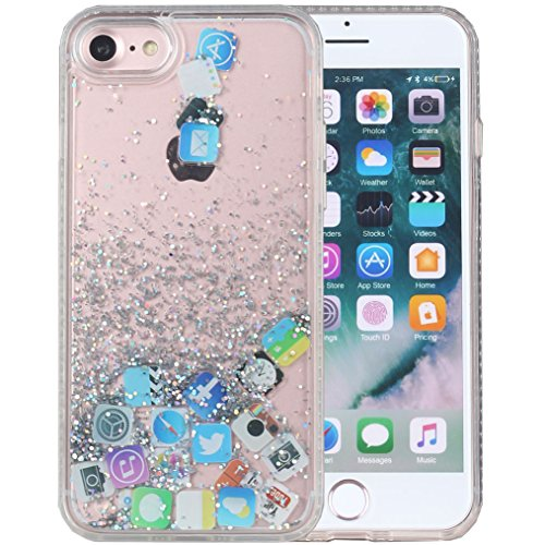 - iPhone 8 Case, iPhone 7 Case, iYCK Hard Back Panel and Soft Rubber TPU Bumper Flowing Floating Liquid Infused Quicksand Bling Glitter Sparkle Protective Case Cover for iPhone 8/iPhone 7 - App