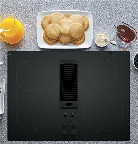 "GE PP9830DJBB 30 Inch Smoothtop Electric Cooktop with 4 Burners, 3-Speed Downdraft Exhaust System, 9""/6 Inch Power..."