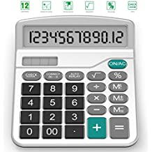 Calculator, Splaks Standard Functional Desktop Calculator Sola and AA Battery Dual Power Electronic Calculator with 12-digit Large Display-Silver