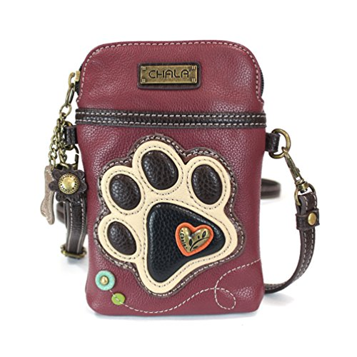 (Chala Crossbody Cell Phone Purse - Women PU Leather Multicolor Handbag with Adjustable Strap - Ivory Paw - Maroon)