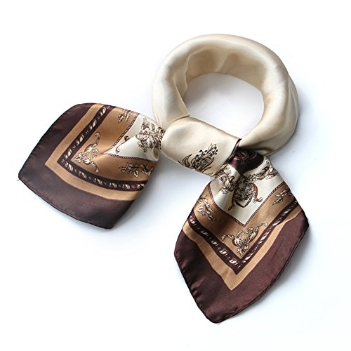 (Womens Beige Square Satin Silk Neck Head Hair Scarf Wraps Neckerchief Sleeping)