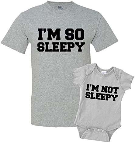 I'm So Sleepy and I'm Not Sleepy Dad and Me Matching Set T-Shirt Bodysuit Clothing