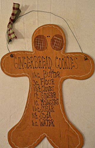 Country Wood Plaque Gingerbread Man Cutout Sign Decoration with a Metal Wire for Hanging 12 x 16 1/2 x 1/16 Inches. Wooden Sign Saying
