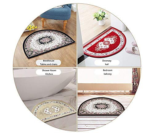 Movie Theater Semicircular Cushion Cat with Popcorn and Drink Watching Movie Glasses Entertainment Cinema Fun Entry Door Mat H 31.5'' xD 47.2'' Multicolor by homehot (Image #2)