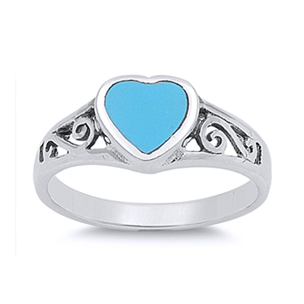 Sterling Silver Filigree Design Simulated Turquoise Heart Promise Ring 8mm ( Size 4 to 10 ), 5